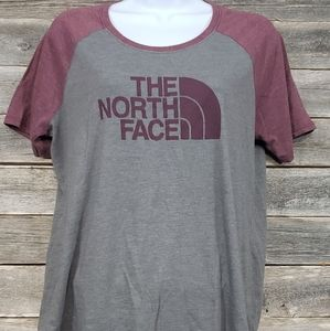 The North Face Women's Grey and Burgundy Shirt